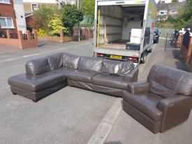 3. Brown leather corner sofa and reclining armchair