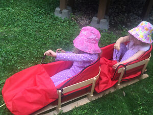 Traditional Wooden sled with Seat Pads for 2