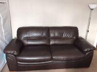 second hand 3 seat leather sofa Oakfurnitureland 95% new
