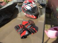Motorcycle helmet size small (Premier) Red &Black design and matching gloves