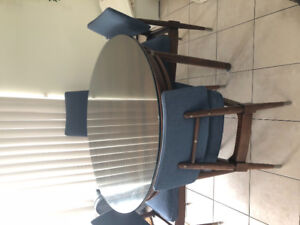 Mid century modern dining set with extendable leaf