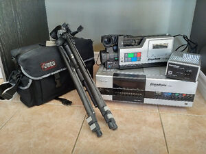 Tripod and Vintage Kodavision Camcorder and accessories