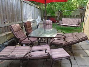 set de patio 6 places avec balancelle assortie, bac de rangement