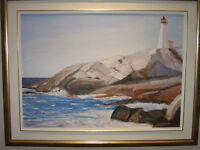 PEGGY'S COVE LIGHTHOUSE 20 x 28 oil painting.