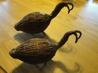Two Canada First Nation Tamarack Goose Decoys