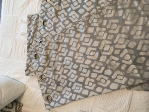 """In great condition grey patterned curtains. 96"""" length"""