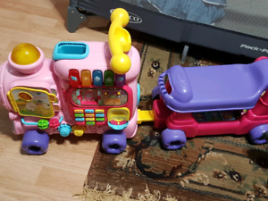 toy ride on train with blocks