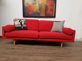 Habitat 3 seater sofa in red wool RRP £1600