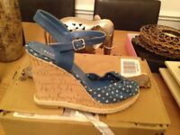 Denim polkadot wedge heel