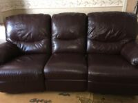 John Peters 3 Seater Brown 100% Leather Sofa