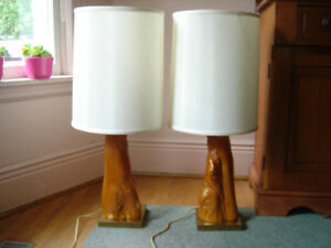 MID CENTURY CYPRESS WOOD TABLE LAMPS HANDCRAFTED - Pair