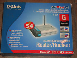 Used D-Link DI-524 Wireless 54 Mbps High Speed Router (802.11g) Edmonton Edmonton Area image 1