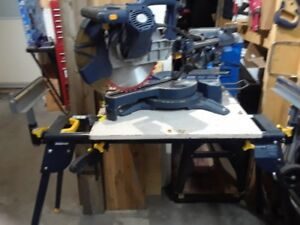 12 inch duel bevel compound mitre saw with folding stand