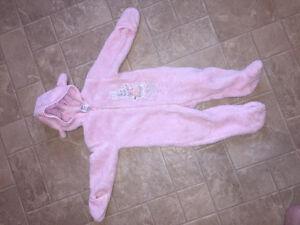 Pink Peter Rabbit snow suit