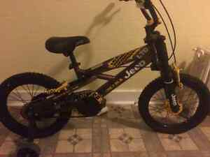 Kids Jeep bike never used. Size 16 tires.