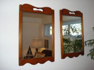 """Miroir encadré de bois massif, Vintage ( couleur """" TECK """" )"""