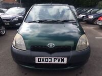 **LONG MOT** - Toyota Yaris 998CC VVTI GLS 3-Door Hatchback 2003