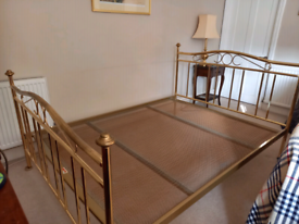 Brass effect double bed frame