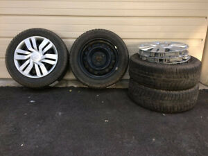 Winter Tires on Rims and Wheel Covers