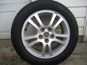 2 - 205/60R16 WINTER TIRES ON GM 5 STUD ALLOYS - $160