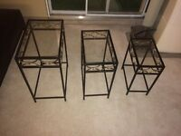 3 glass top end stands