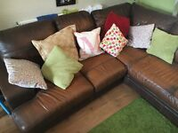 Dfs corner sofa REAL LEATHER