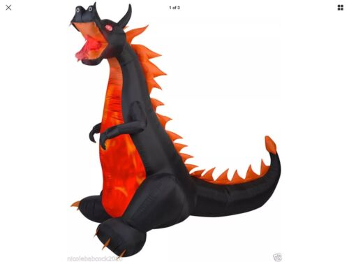 """Halloween 89"""" Dragon Fire Ice Gemmy Airblown Inflatable Prop Yard Decor"""