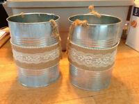 (8) Tins wrapped in burlap - $50.00
