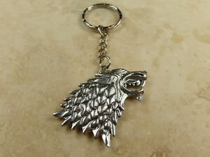 Game of Thrones House Stark Symbol 3D Direwolf Head - Keyring Pendant Charm Gift