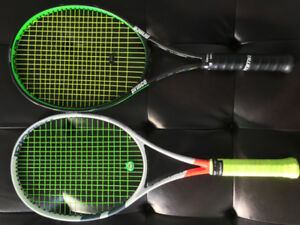 Raquettes de tennis Babolat pure Strike +  prince Text.tour 100P