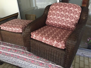 Wicker Chair & Ottoman with cushions