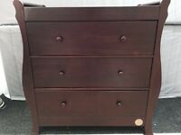 3 drawer mahogany baby change unit