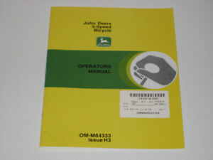 New OEM Retail JOHN DEERE 5-Speed Bike Operators Manual OM-M6433