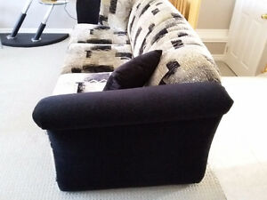 Couch and loveseat set with matching pillows black/brown fabric London Ontario image 7