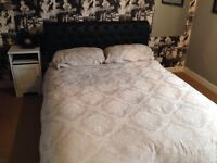 Double leather bed frame
