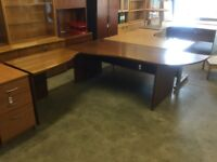 Large cherry office desk and workstation.