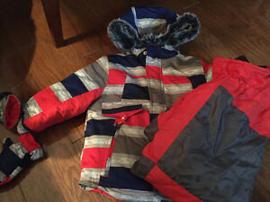 NEW RED & BLUE SNOWSUIT WITH MITTS