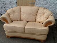 Two seater cream leather