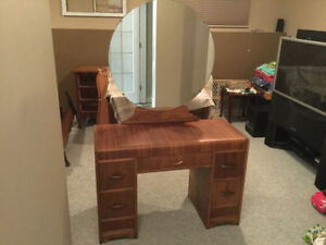 Antique dressing table and bed frame