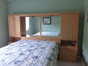 Well Cared for Oak Bedroom Wall Unit