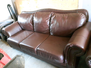Genuine leather sofa and loveseat
