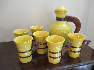 VeryRare Yellow Pacific Pottery Pitcher with Matching 6 Tumblers