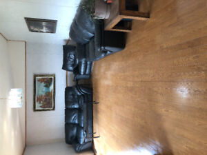 Leather couch and chair recliner fold out beds