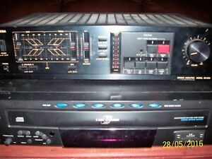 toshiba amp, 5 disk cd player,jbl speakers