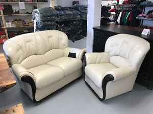 Leather sofas love seats. chairs and day beds
