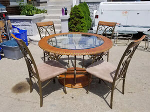 Wooden frame glass dining table set with chairs