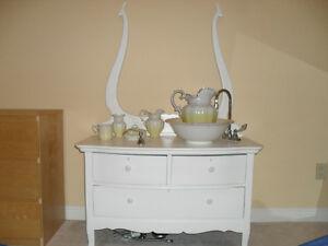 Real antique bowl and pitcher bathroom sink