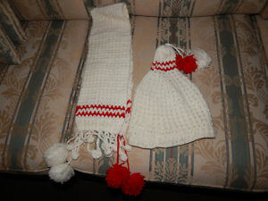 Handmade hat and scarf set for girls ,12-18-24 months