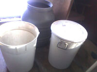 Rain barrell and large pails