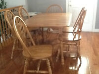 CONTENTS SALE Solid Maple Harvest Table, inserts &  6 Chairs